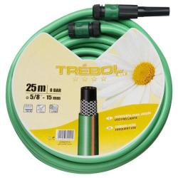 TUBO VERDE TREBOL TRENZADO 15 MM.  ROLLO 25 METROS CON ACCESORIOS