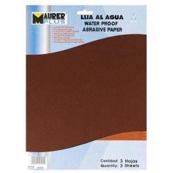 LIJA AGUA MAURER GRANO 280  (PACK 3 PLIEGOS)