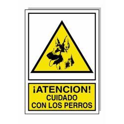 CARTEL CUIDADO CON LOS PERROS 30X21 CM.