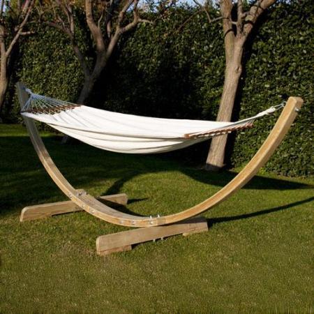 Hamaca colgante para jardin con soporte madera - Columpio madera jardin ...