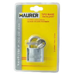 CANDADO MAURER INOXIDABLE ARCO NORMAL 40 MM.
