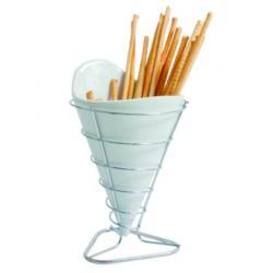 Cucurucho porcelana con soporte metal.Serie Degustacion.VIEJOVALLE