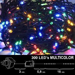 LUCES NAVIDAD 300 LEDS LUZ MULTICOLORES INTERIOR / EXTERIOR  (IP44)
