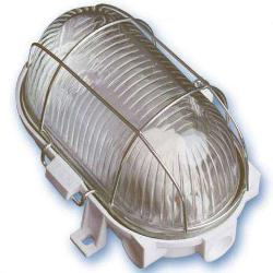 APLIQUE OVALADO PLASTICO E27 60W REJILLA METAL
