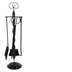 FLORES Juego 4 accesorios para chimena forja