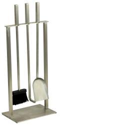 Soporte 3 accesorios chimenea acero inox
