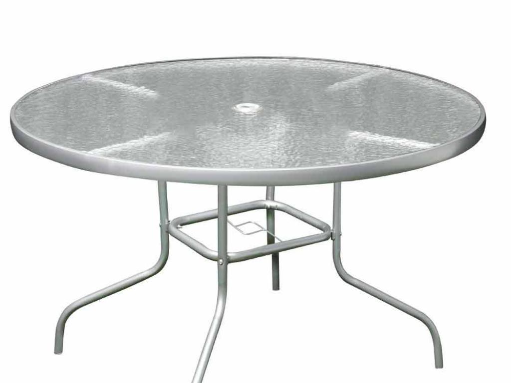 Mesa jard n redonda acero y cristal fleury for Mesas redondas de cristal y acero
