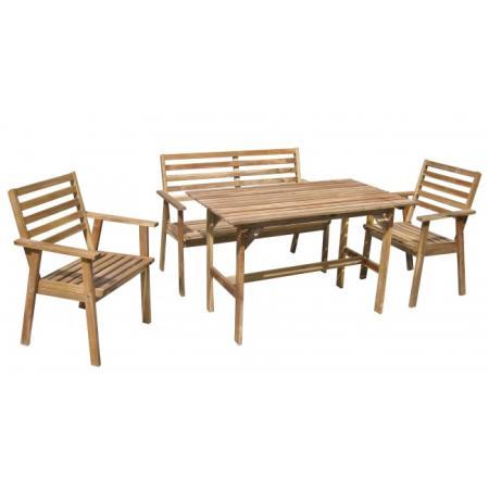 Mesa con banco y sillas para jardin menorca 2 for Mesa banco madera jardin