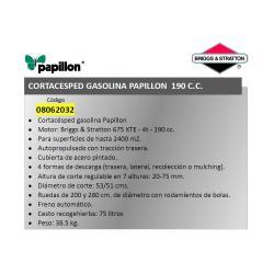 CORTACESPED GASOLINA PAPILLON BRIGGS & STRATTON 190 C. C.