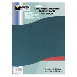 LIJA MADERA MAURER GRANO 80  (PACK 10 PLIEGOS)