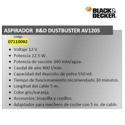 ASPIRADOR BLACK&DECKER DUSTBUSTER AUTO AV 1205