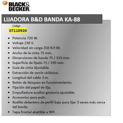 LIJADORA BANDA BLACK&DECKER KA 88