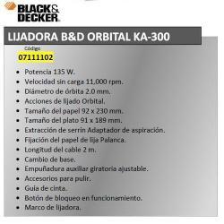 LIJADORA BLACK&DECKER ORBITAL KA 300