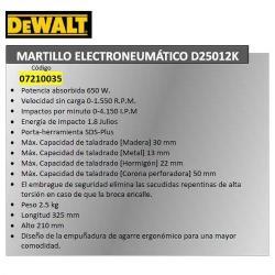 MARTILLO ELECTRONEUMATICO DEWALT  D25012K