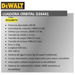 LIJADORA DEWALT ORBITAL   D26441QS