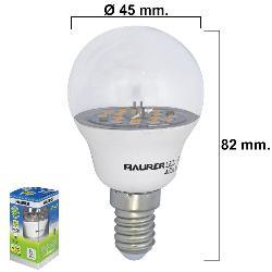 BOMBILLA LED ESFERICA TRANSPARENTE ROSCA E14 5 W. = 40 W.  470 LUMENES LUZ BLANCA