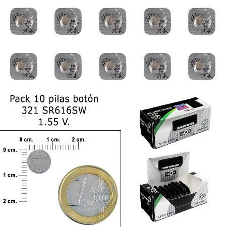 PILA BOTON OXIDO DE PLATA 321 / SR616SW  (CAJA 10 PILAS)