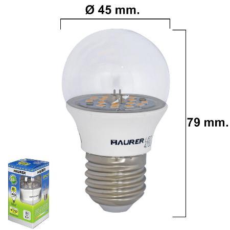 BOMBILLA LED ESFERICA TRANSPARENTE ROSCA E27 5 W. = 40 W.  470 LUMENES LUZ BLANCA
