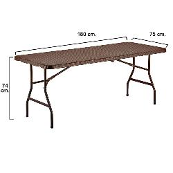 MESA PLEGABLE RECTANGULAR MARRON 180 X 75 X 74 CM.