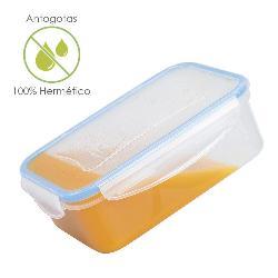 RECIPIENTE HERMETICO PLASTICO RECTANGULAR 2. 500 ML.  25X18X8. 5  (ALT. ) CM.