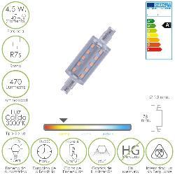 BOMBILLA / LAMPARA LINEAL LED ROSCA R7S 4,5 W.   40 W.   470 LUMENES LUZ CÁLIDA  (3000 º K. )