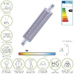 BOMBILLA / LAMPARA LINEAL LED ROSCA R7S 9 W.   75 W.   1050 LUMENES LUZ CÁLIDA  (3000 º K. )