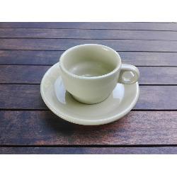 RETRO CONJUNTO TAZA CAFE CORTADO + PLATO OCRE 135 MM