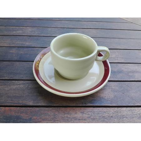 RETRO CONJUNTO TAZA CAFE CORTADO + PLATO BANDA MARRON 135 MM