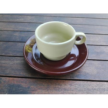 RETRO CONJUNTO TAZA CORTADO + PLATO MARRON 145 MM