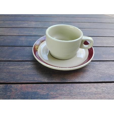 RETRO CONJUNTO TAZA CAFE + PLATO BANDA MARRON 120 MM