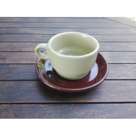 RETRO CONJUNTO TAZA CAFE + PLATO MARRON 120 MM