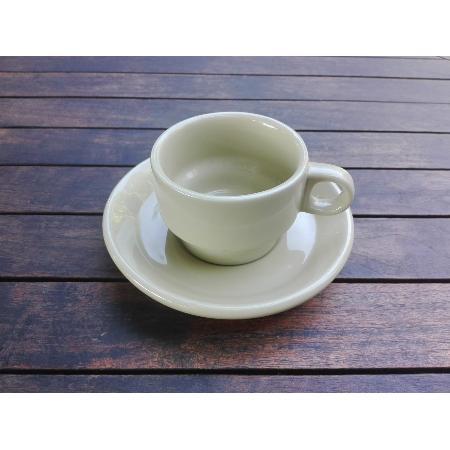 RETRO CONJUNTO TAZA CAFE + PLATO OCRE 120 MM