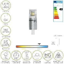 BOMBILLA LED G4 1,6 W.  20 W. LUZ FRIA 6500ºK