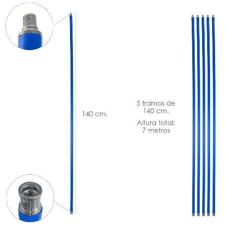 MASTIL DESHOLLINADOR 5 TRAMOS DE 140 CM. (7 METROS  X Ø 20 MM.)