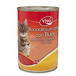 VIVO GATO BOCADITO BUEY 415 GRS.