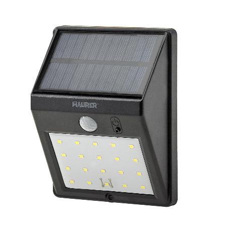 APLIQUE SOLAR LED 160 LUMENES CON SENSOR DE MOVIMIENTO Y CRESPUSCULAR IP65